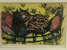 """Framed and glazed colour lino cut entitled """"The Two Cats"""" signed Guy Worsdell"""