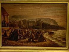 Gilt framed oil on canvas of a crowd on a beach with ships signed V Pellegrin