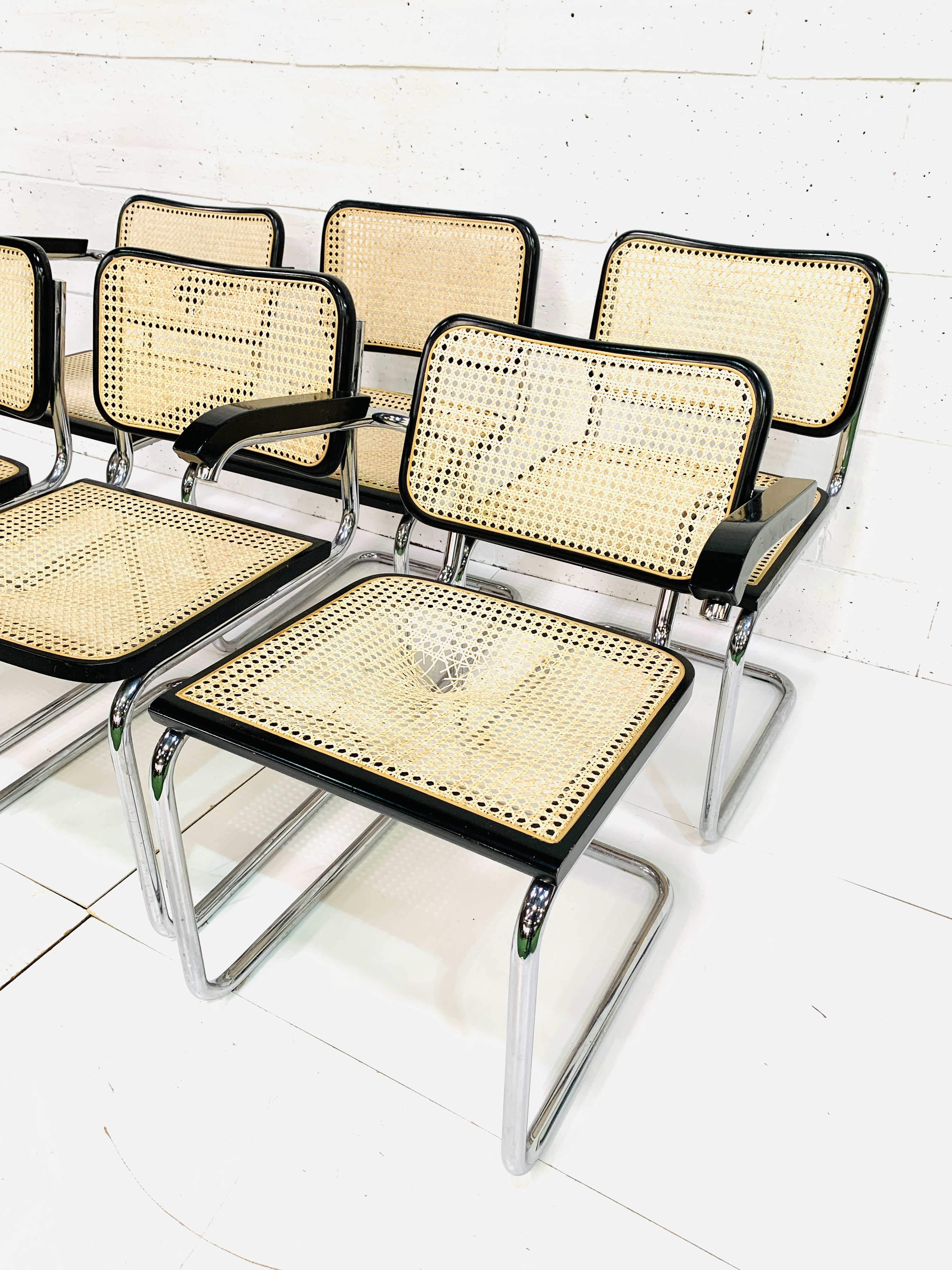 Group of six Italian chrome framed chairs - Image 4 of 6