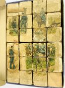 48 6-sided wooden puzzle blocks to make up 6 different pictures of 19th century European soldiers.