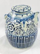 Chinese blue and white marriage / ginger jar with lid, spout and hanging loops
