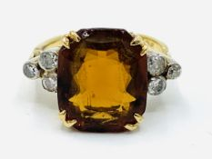 9ct gold, diamond and large citrine ring