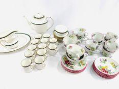 Spode 'Tuscana' coffee set; together with Spode 'Marlborough Sprays' part tea and coffee set