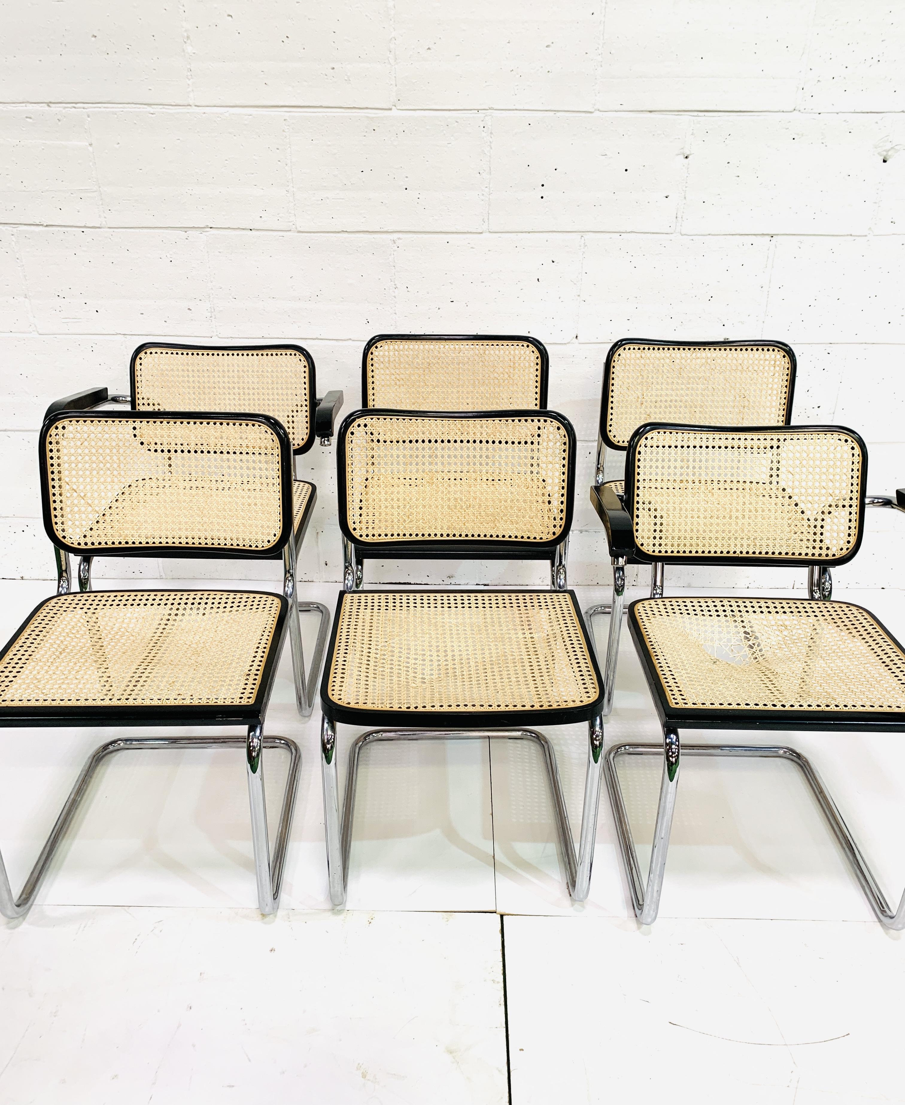 Group of six Italian chrome framed chairs