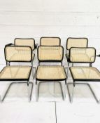 Group of six Italian chrome framed chairs
