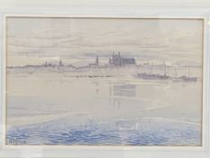 Hilda McDowall, watercolour of scene across a bay or rivermouth