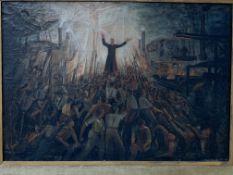 Oil on canvas religious scene, signed Louis van Remortel