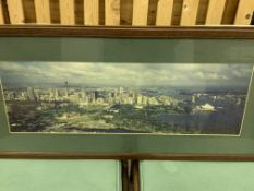 Pair of framed and glazed prints of Sydney, and two other prints.