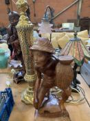 Three table lamps and other objects
