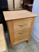 Contemporary low table and a three drawer bedside cabinet