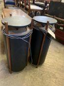 Two floor standing drum style speakers