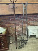 1950's style metal coat, stick and umbrella stand, and 3 metal tripods