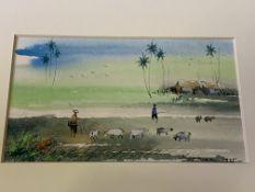 Box of watercolours of Oriental scenes by Karman, 1995