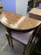 Mahogany framed stool, walnut veneer demi-lune table and a nest of three mahogany tables