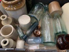 Bourne Denby Victorian footwarmer; medium sized brown preserve jar; 19 Victorian bottles
