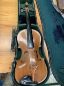 Two violins both in hard cases
