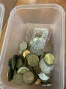 """10.5kgs of threepenny bits, brass alloy, 3kgs of """"coppers"""" and other coins"""