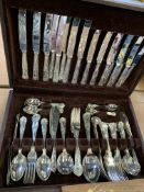 Wooden canteen of King's pattern silver plate cutlery by Francis Greaves