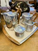 Picquot ware tea and coffee set complete with tray