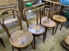 Four various bentwood chairs with circular seats
