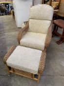 Bamboo and cane conservatory chair and stool
