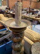 Gilded barley twist torchere on velvet covered base,