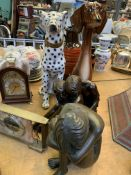 Two ceramic dog figures and other items