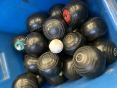 68 lawn bowls of various weights