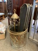 Brass coal bucket and companion set,