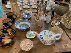 Collection of pottery, ceramic and brass