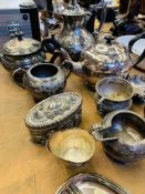 Quantity of silver plate items.