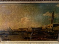 Gilt framed oleograph of Venice, and four other prints