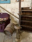 Coopered wooden barrel on stand and two other items