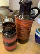 West German lava ware vase and flagon