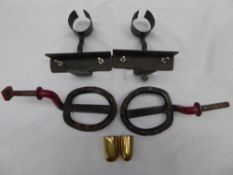 Pair of brass shaft ends; lamp brackets; pair of trade carriage steps