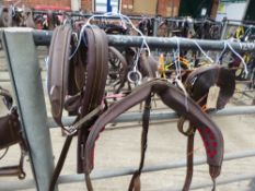 Set of brown pony size breastcollar harness with whitemetal fittings - carries VAT