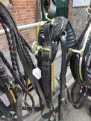 Set of black/brass show harness to suit 13 to 15hh with 20ins collar, Tilbury tugs and brown reins.