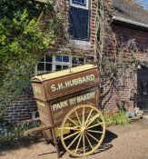 BAKER'S HAND CART, painted brown with cream signage