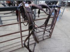 Set of brown cob size breastcollar harness with whitemetal fittings - carries VAT