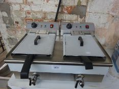 Infernus double tank electric fryer with front drain valves