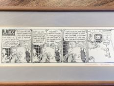 """""""Alex"""" cartoon signed by Charles Peattie and Russell Taylor bottom right"""