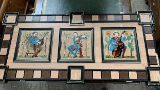 Wood panel containing 3 majolica tiled paintings