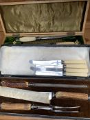 Two carving sets and some bone handled cutlery