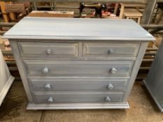 Blue painted chest of two over three drawers