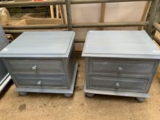 Pair of blue painted bedside chests of two drawers together with a matching chest of five drawers