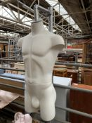 ALU male torso mannequin hanging from a metal support stand