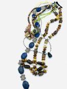Six various gemstone necklaces