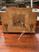 Art deco mantle clock, a copper warming pan, coal scuttle and other items