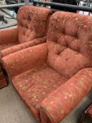2 armchairs and an ottoman upholstered in dark red; together with a pair of dining chairs