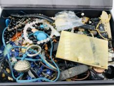 Box of costume jewellery including some watches